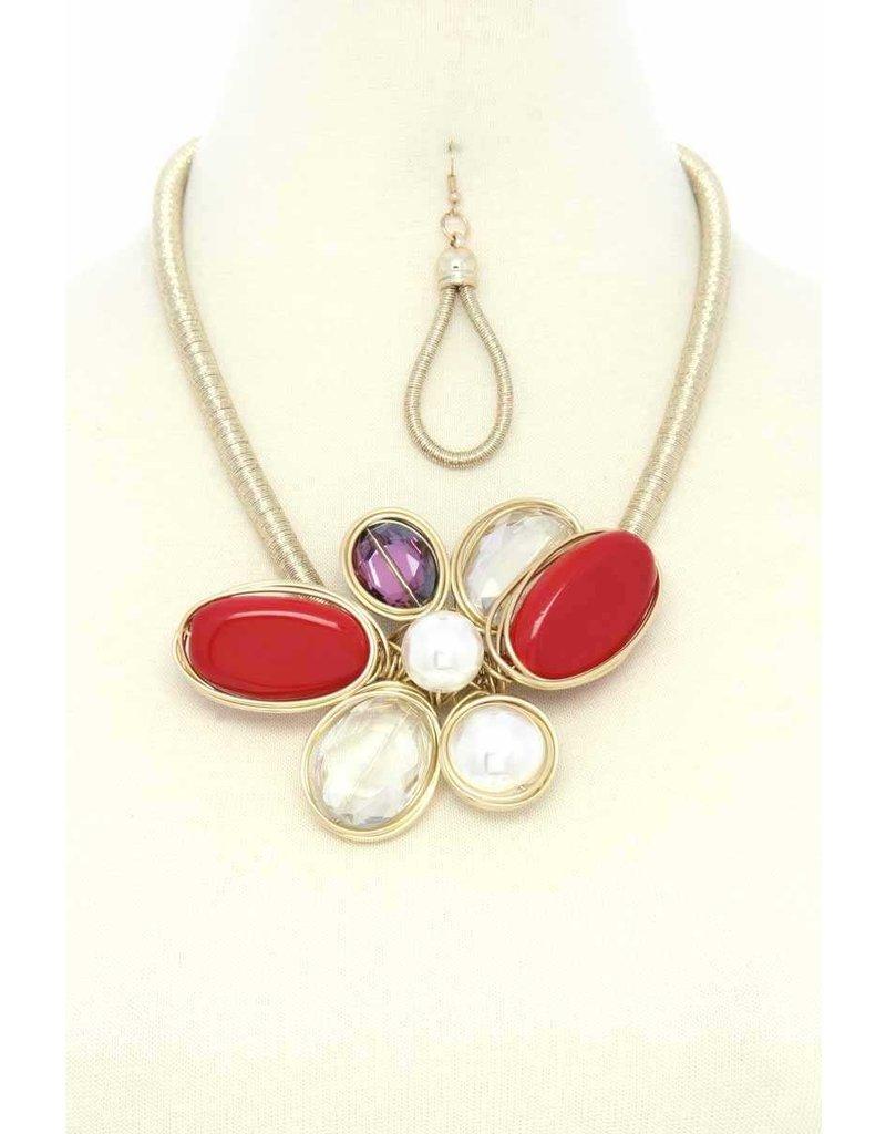 Flower Trip Necklace Set - Red