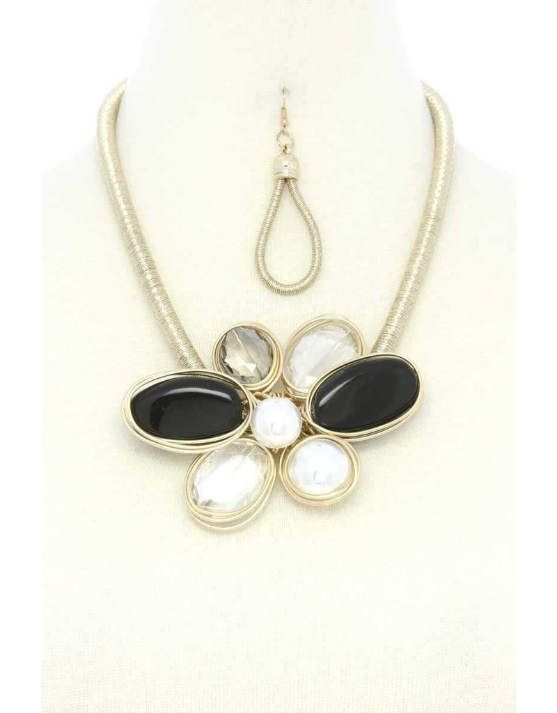 Flower Trip Necklace Set - Black