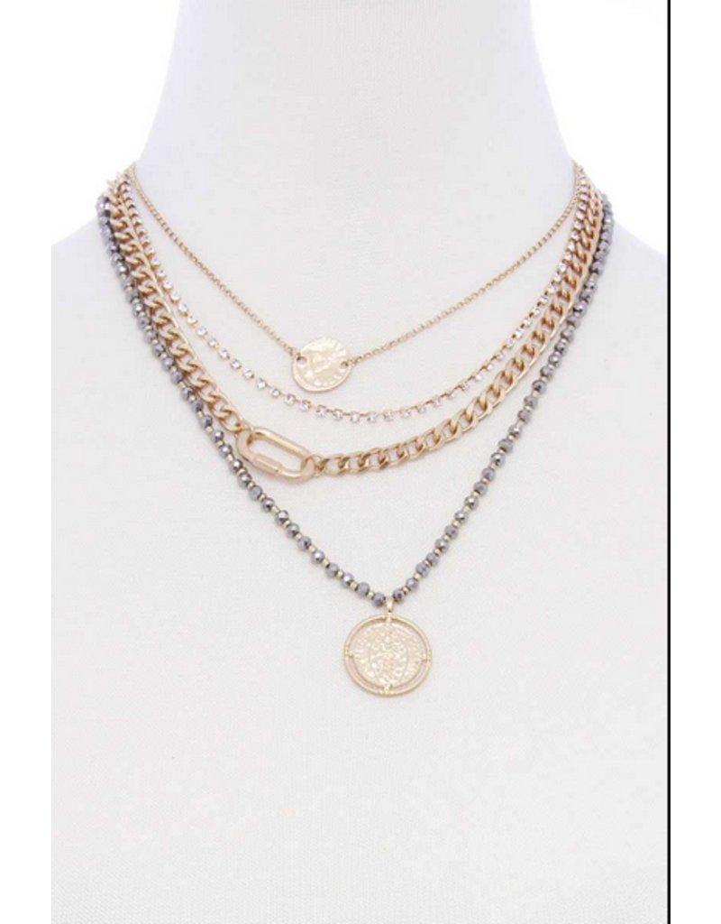 All Locked In Layered Necklace - Grey
