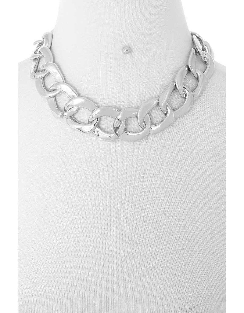 Linked Necklace Set - Silver