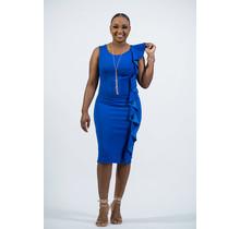 Holding On Ruffle Dress - Royal Blue