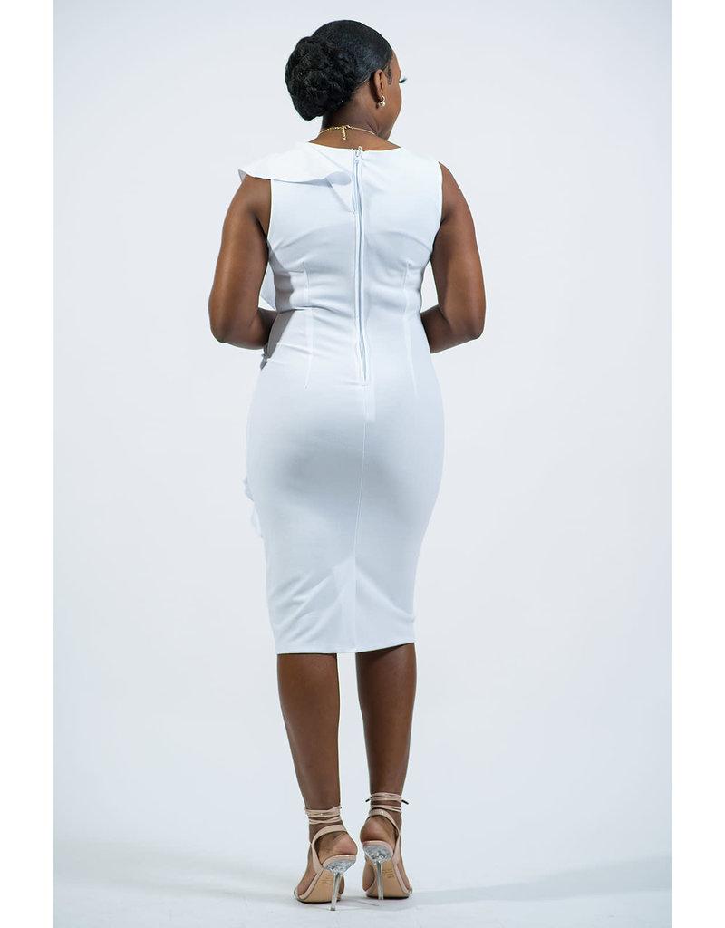 Holding On Ruffle Dress - White