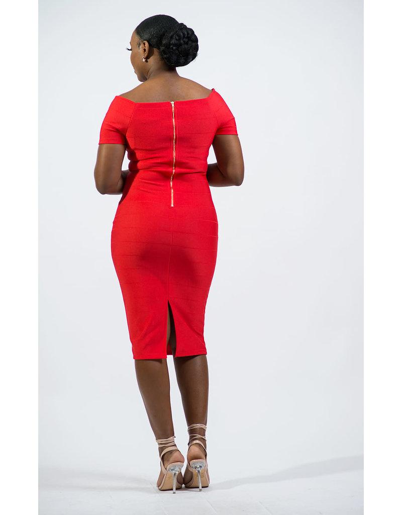 Keep Me Young Bandage Dress - Red Orange