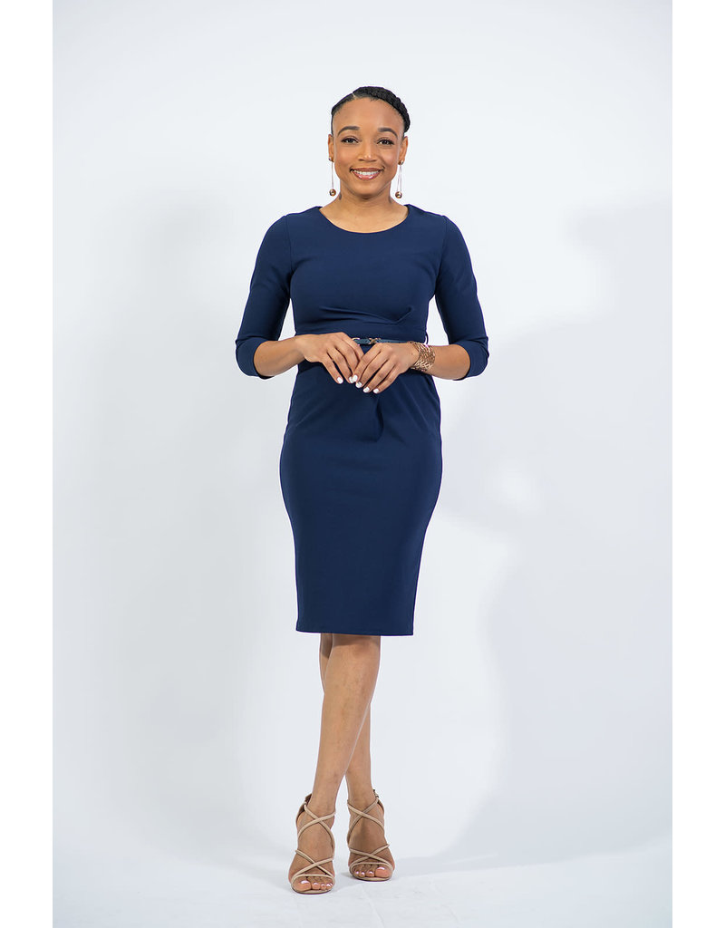 Finding My Way Belted Dress - Navy