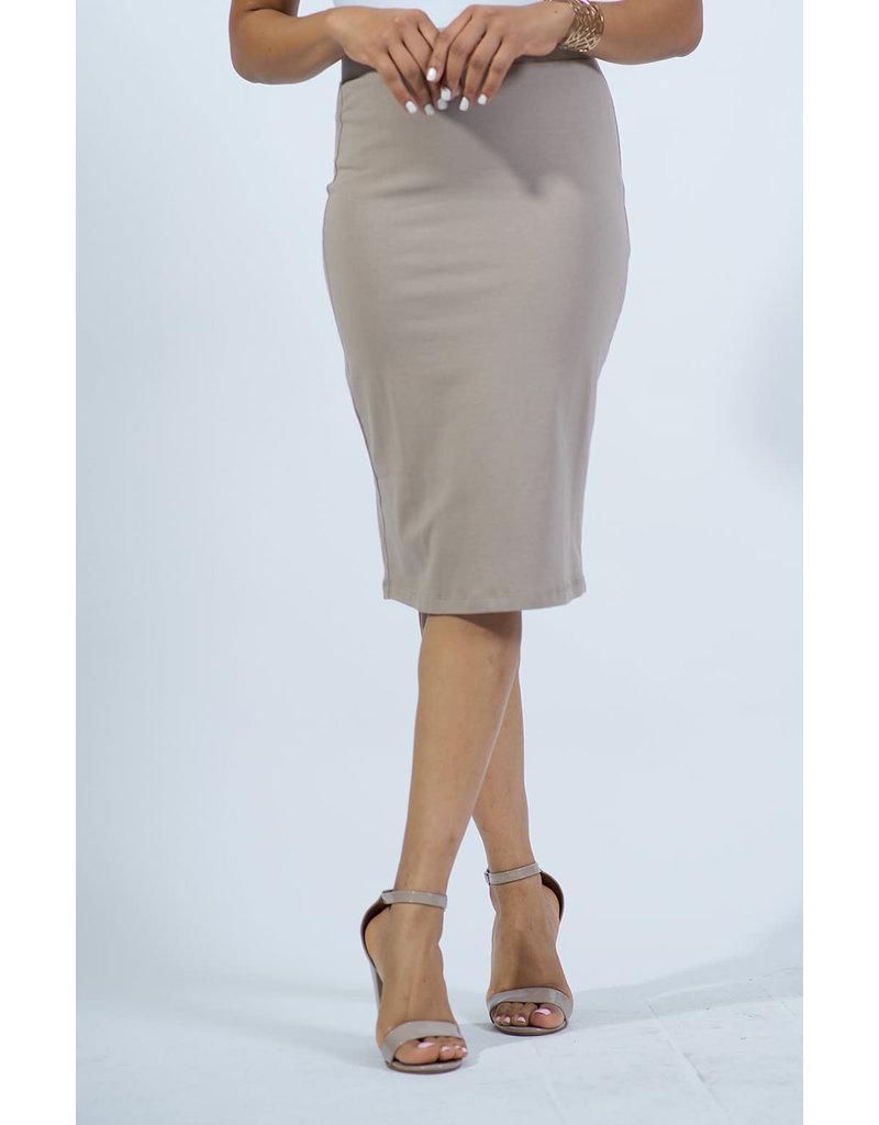 Cotton Pencil Skirt - Mocha