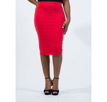 Cotton Pencil Skirt - Red