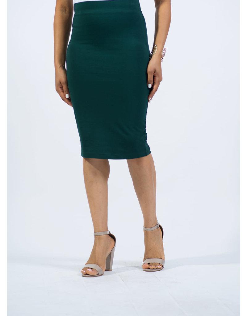 Cotton Pencil Skirt - Hunter Green