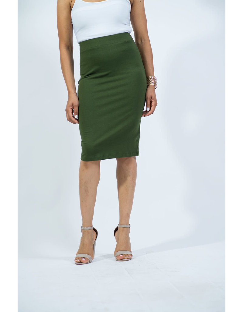 Cotton Pencil Skirt - Army Green