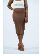 Cotton Pencil Skirt - Light Brown