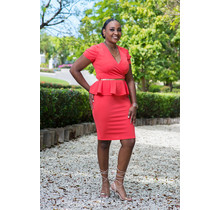 Lead By Example Peplum Dress - Coral