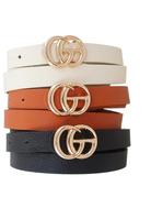 All Around 3 PC Skinny Belt Set - Black/Ivory/Cognac