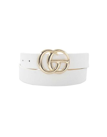 Total Knockout Textured Belt - White