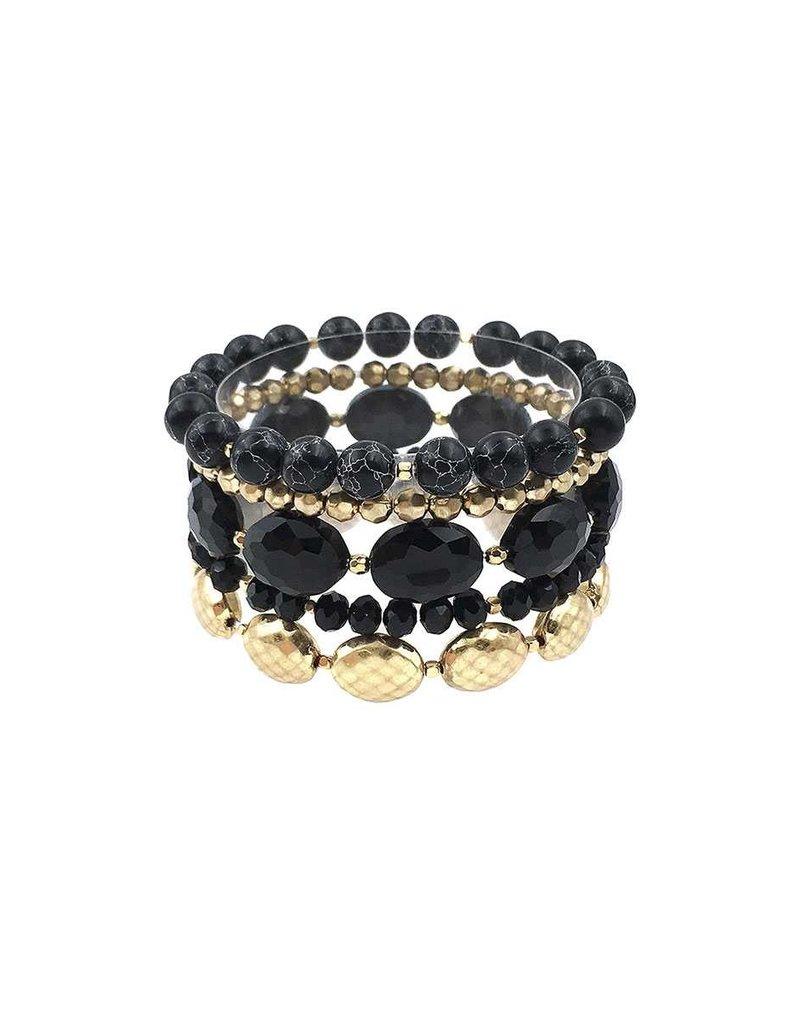 Rolling Stones Bracelet Stack - Black
