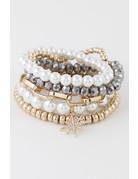 Hald Past Pearl Bracelet Stack - Pewter