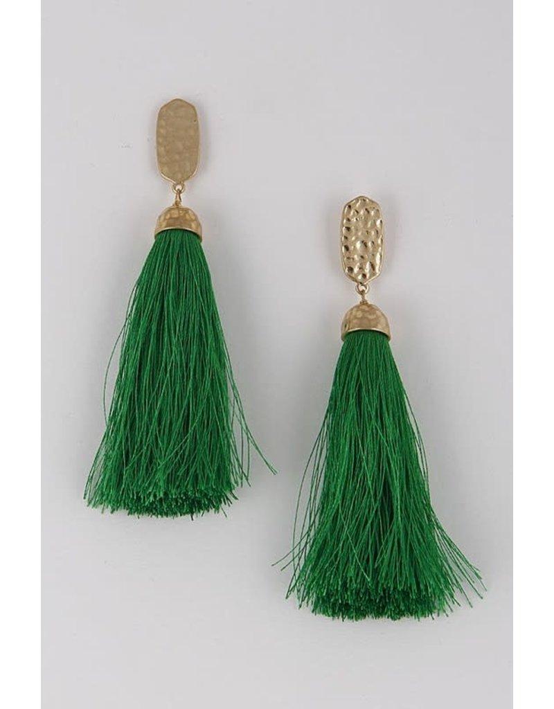 Dinner Date Tassel Earrings - Green