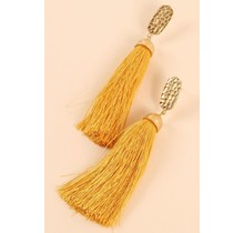 Dinner Date Tassel Earrings - Mustard