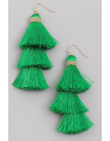 Fringe Feeling Tassel Earrings - Green