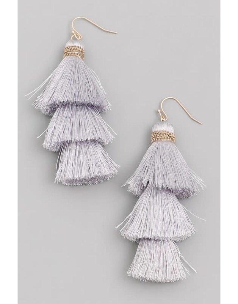 Fringe Feeling Tassel Earrings - Light Grey