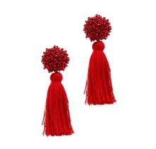 Beaded Bits Tassel Earrings - Red