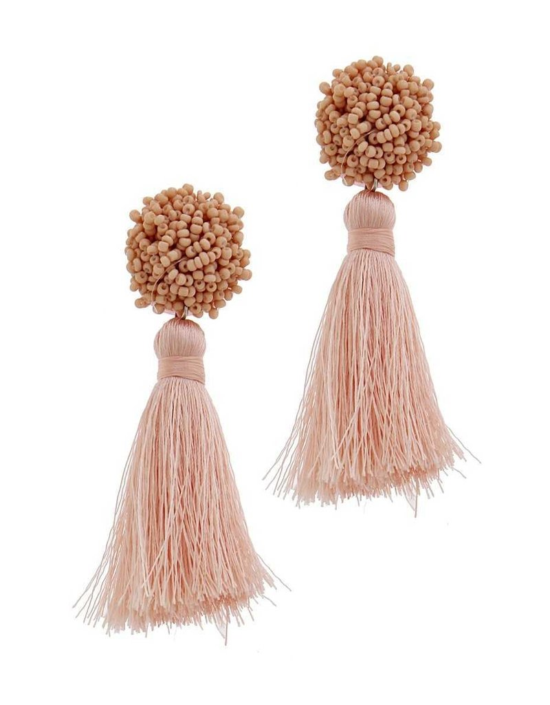 Beaded Bits Tassel Earrings - Taupe