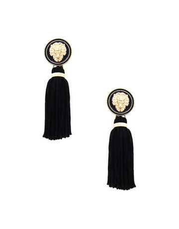Hear Me Roar Tassel Earrings - Black