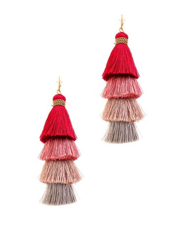 Don't Back Down Tassel Earrings - Wine