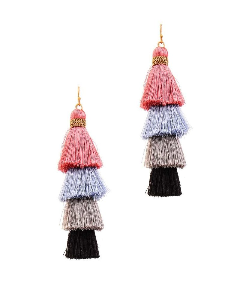 Don't Back Down Tassel Earrings - Mauve