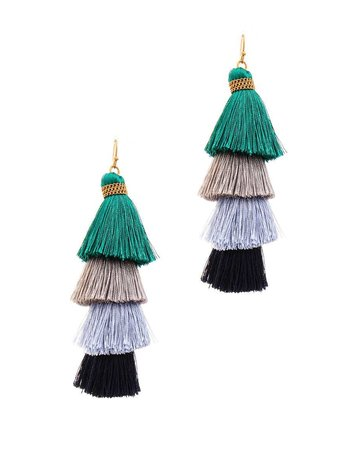 Don't Back Down Tassel Earrings - Green