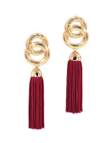 Good Impression Tassel Earrings - Burgundy