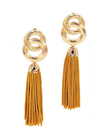 Good Impression Tassel Earrings - Mustard