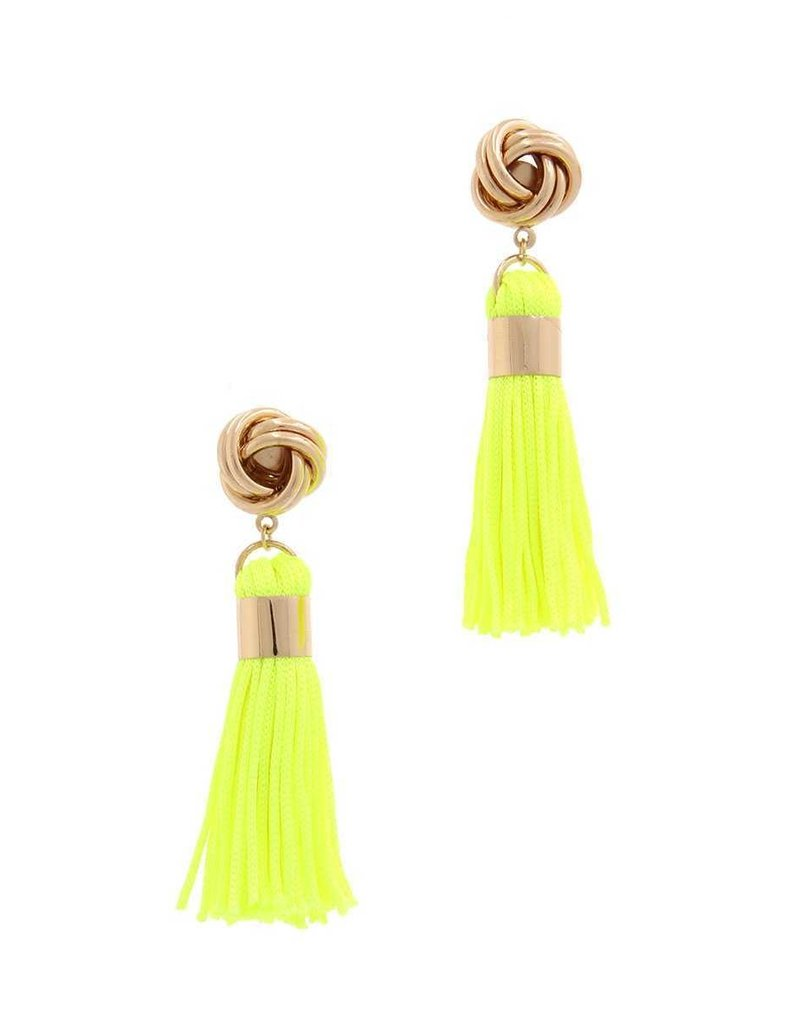 Out Of Line Tassel Earrings - Neon Yellow