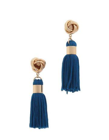 Out Of Line Tassel Earrings - Navy