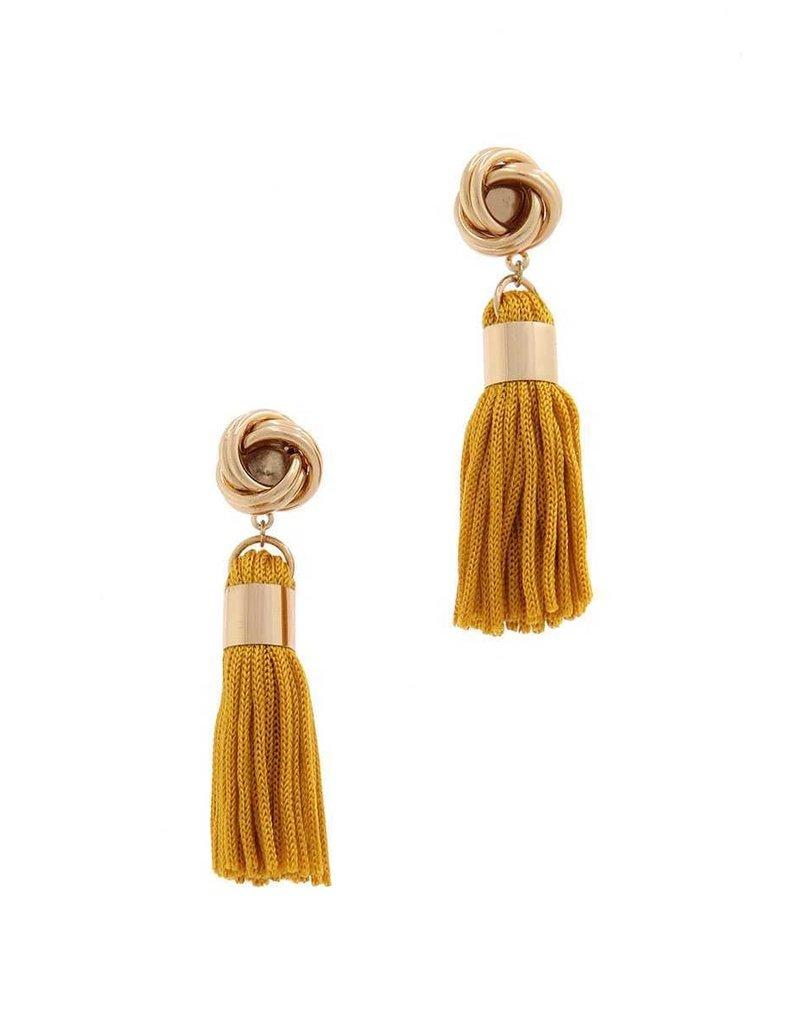Out Of Line Tassel Earrings - Mustard