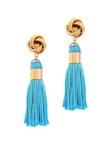Out Of Line Tassel Earrings - Turquoise