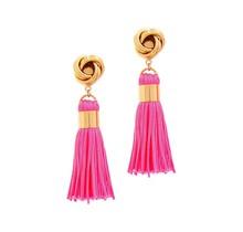Out Of Line Tassel Earrings - Hot Pink