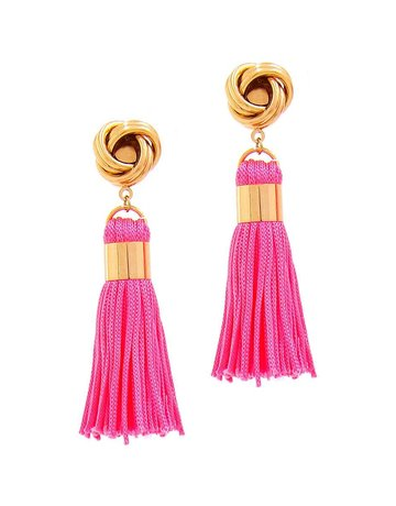 Out Of Line Tassel Earrings - Hot Pink