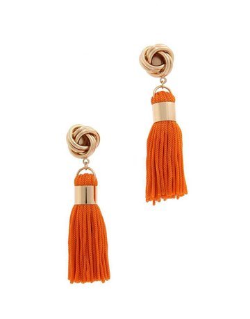 Out Of Line Tassel Earrings - Orange