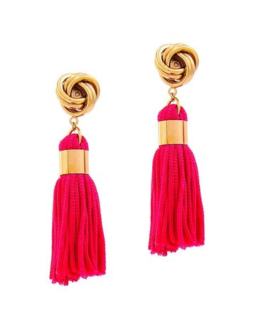 Out Of Line Tassel Earrings - Fuchsia