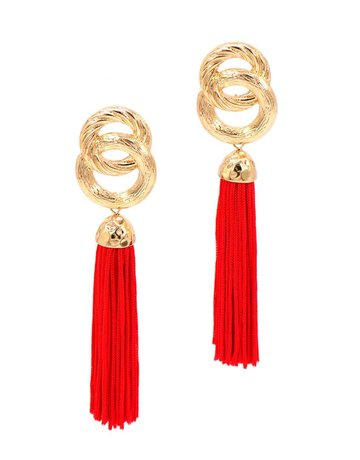 Good Impression Tassel Earrings - Red