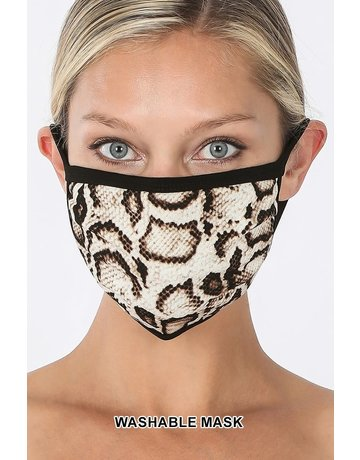 So Essential Washable Mask - Tan Brown Snake Print