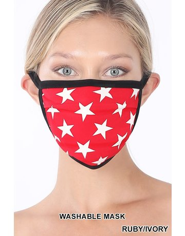So Essential Washable Mask - Ruby Ivory Star Print