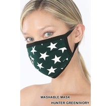So Essential Washable Mask - Hunter Green Ivory Star Print