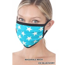 So Essential Washable Mask - Ice Blue Ivory Star Print