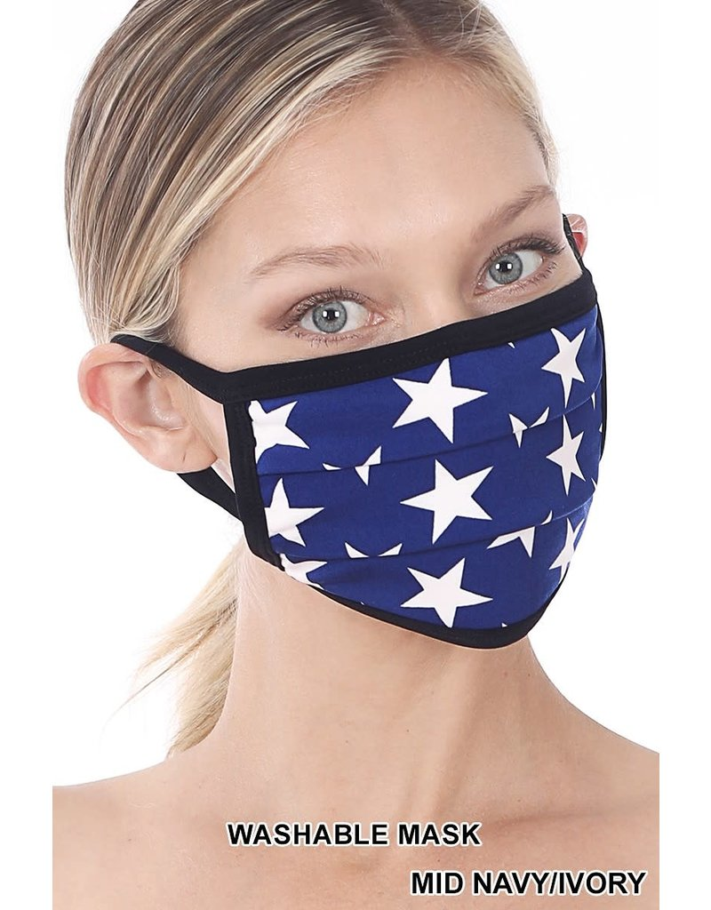 So Essential Washable Mask - Mid Navy Ivory Star Print