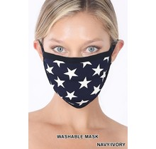So Essential Washable Mask - Navy Ivory Star Print