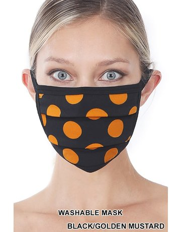 So Essential Washable Mask - Black Golden Mustard Polka Dot