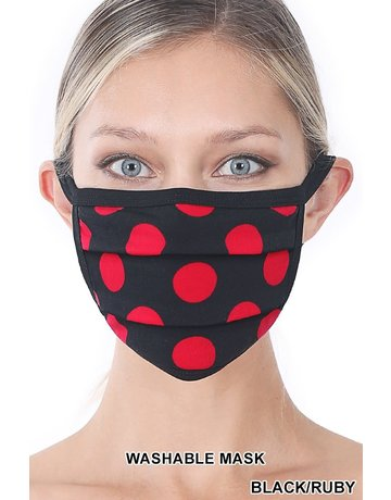 So Essential Washable Mask -  Black Ruby Polka Dot