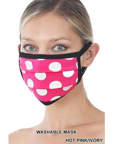 So Essential Washable Mask -  Hot Pink Ivory Polka Dot