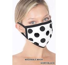 So Essential Washable Mask -  Ivory Black Polka Dot