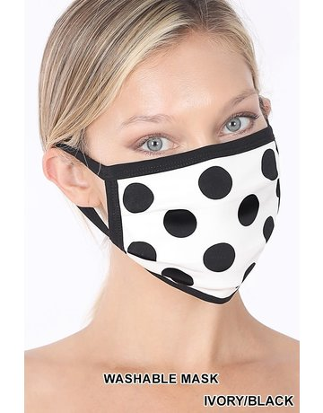 So Essential Washable Mask -  Ivory Black Polka Dot